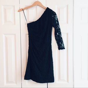 EXPRESS Bodycon Black Lace Dress One Sleeve 2 EUC